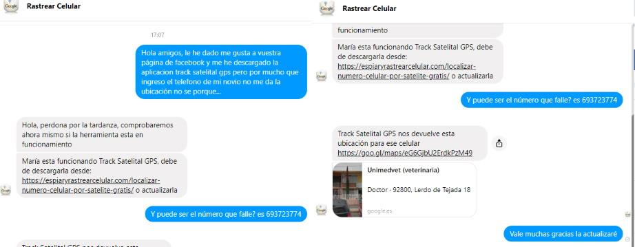 conversacion de facebook con ubicacion gps